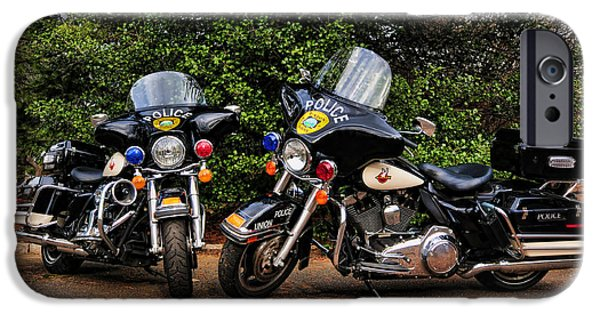 Police Cruiser iPhone Cases - Police Motorcycles iPhone Case by Paul Ward