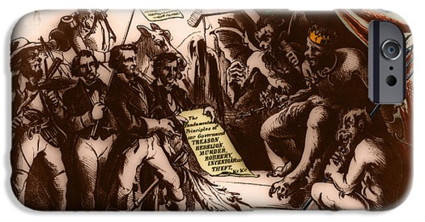 Mr. President iPhone Cases - Political Cartoon Of The Confederacy iPhone Case by Photo Researchers