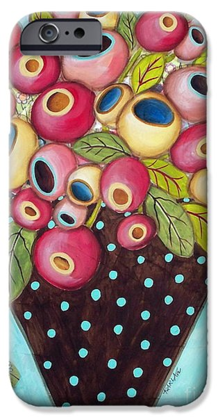 Flower Still Life Mixed Media iPhone Cases - Polka Dot Pot iPhone Case by Karla Gerard