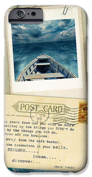 Poloroid of Boat with Inspirational Quote iPhone Case by Jill Battaglia