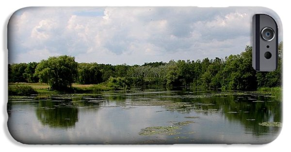 Artists4god iPhone Cases - Pond at Beaver Island State Park in New York iPhone Case by Rose Santuci-Sofranko