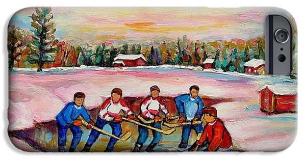 Hockey Paintings iPhone Cases - Pond Hockey Warm Day iPhone Case by Carole Spandau