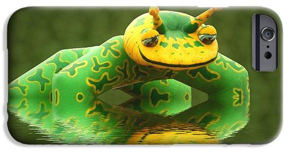 Amphibians Digital Art iPhone Cases - Pond skater iPhone Case by Sharon Lisa Clarke