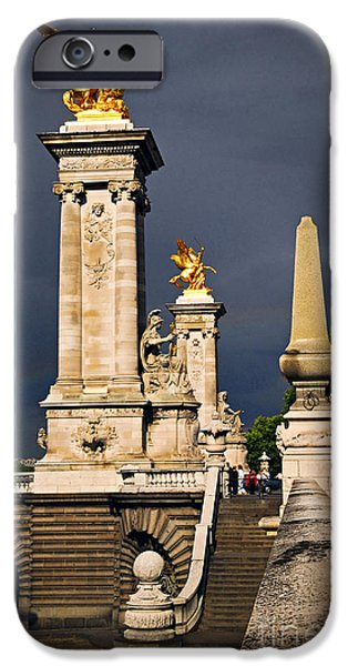 River View iPhone Cases - Pont Alexander III in Paris before storm iPhone Case by Elena Elisseeva