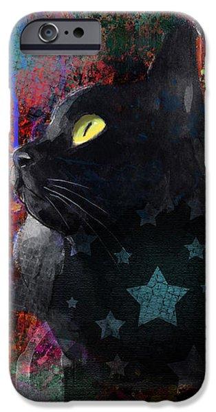 Pop Art Black Cat painting print iPhone Case by Svetlana Novikova