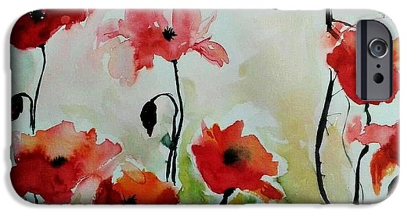 Ismeta iPhone Cases - Poppies Meadow - abstract iPhone Case by Ismeta Gruenwald