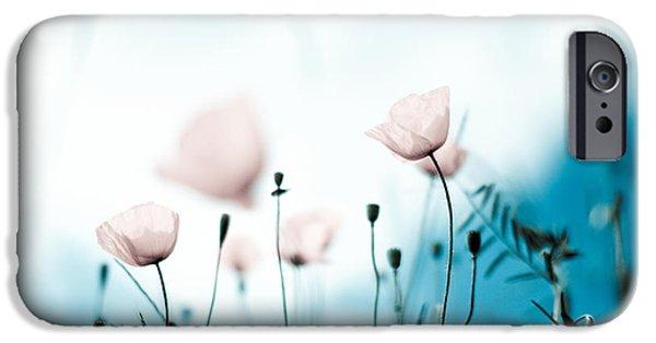 Flora iPhone Cases - Poppy Flowers 11 iPhone Case by Nailia Schwarz