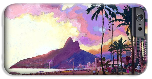 Sunset Paintings iPhone Cases - Ipanema at Sunset iPhone Case by Douglas Simonson