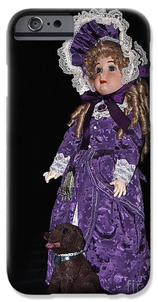 Porcelain Doll iPhone Cases - Porcelain Doll - Full View with Puppy iPhone Case by Kaye Menner