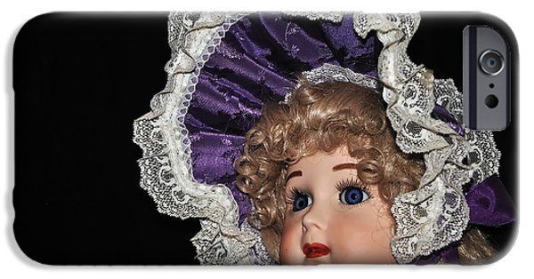 Porcelain Doll iPhone Cases - Porcelain Doll - Head and Bonnet iPhone Case by Kaye Menner