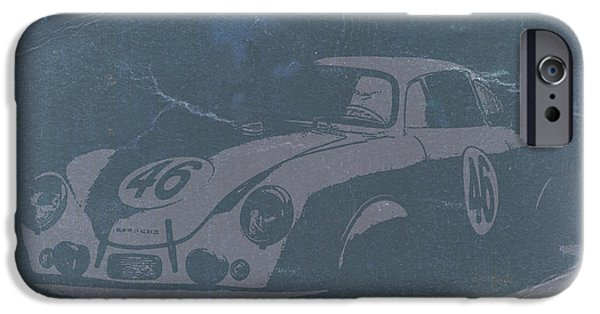 Old Digital Art iPhone Cases - Porsche 356 Coupe Front iPhone Case by Naxart Studio