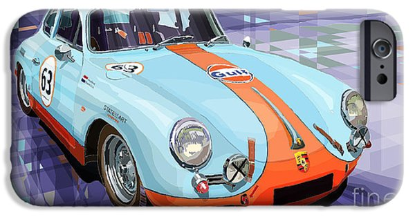 Vintage Cars iPhone Cases - Porsche 356 Gulf iPhone Case by Yuriy  Shevchuk