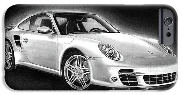 Automotive Drawings iPhone Cases - Porsche 911 Turbo    iPhone Case by Peter Piatt