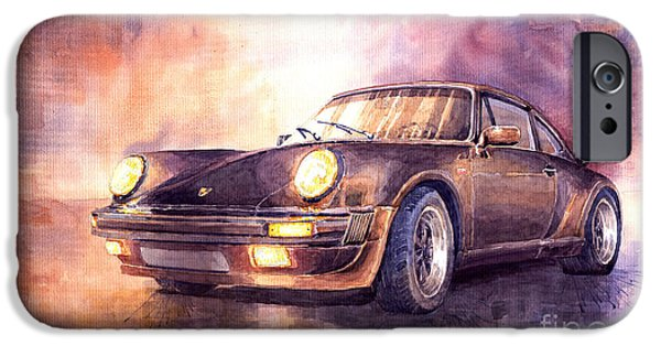 Vintage Cars iPhone Cases - Porsche 911 Turbo 1979 iPhone Case by Yuriy  Shevchuk