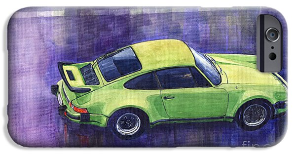 Watercolour Paintings iPhone Cases - Porsche 911 turbo iPhone Case by Yuriy  Shevchuk