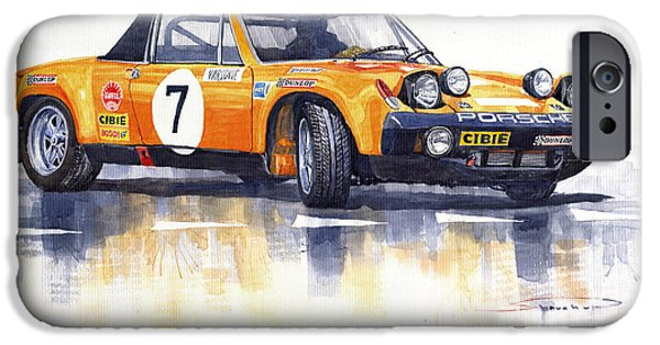 Classic Sports Cars iPhone Cases - Porsche 914-6 GT Rally iPhone Case by Yuriy  Shevchuk