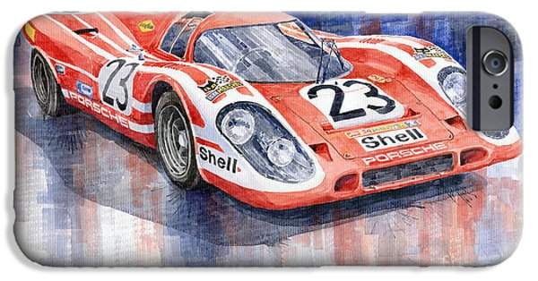 Classic Racing Car iPhone Cases - Porsche 917K Winning Le Mans 1970 iPhone Case by Yuriy  Shevchuk