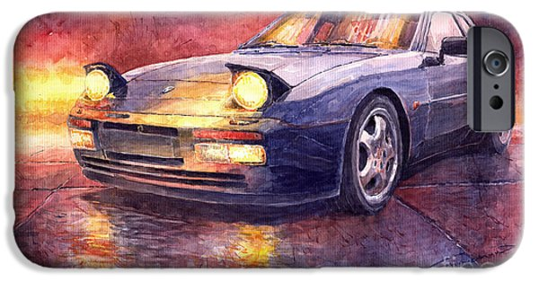 Vintage Cars iPhone Cases - Porsche 944 Turbo iPhone Case by Yuriy  Shevchuk