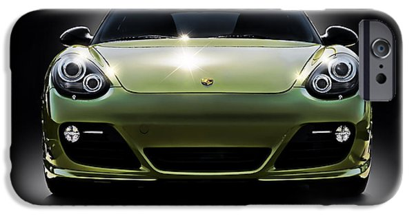 Racing iPhone Cases - Porsche Cayman in Peridot Paint iPhone Case by Douglas Pittman
