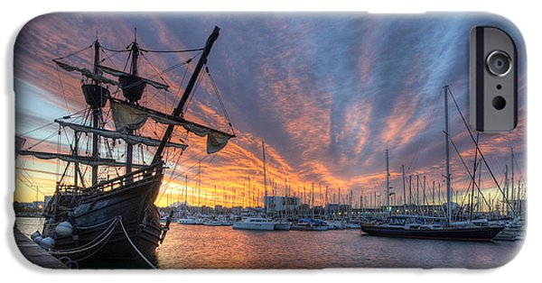Tall Ship iPhone Cases - Port Vell Sunrise - Barcelona iPhone Case by Yhun Suarez