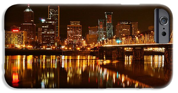 River View iPhone Cases - Portland at Night D9407 iPhone Case by Wes and Dotty Weber