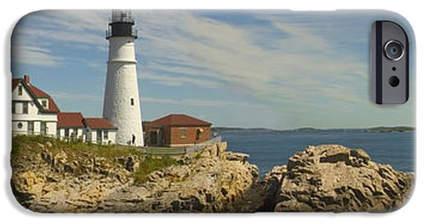 Rocky Maine Coast iPhone Cases - Portland Head Light Panorama  iPhone Case by Mike McGlothlen