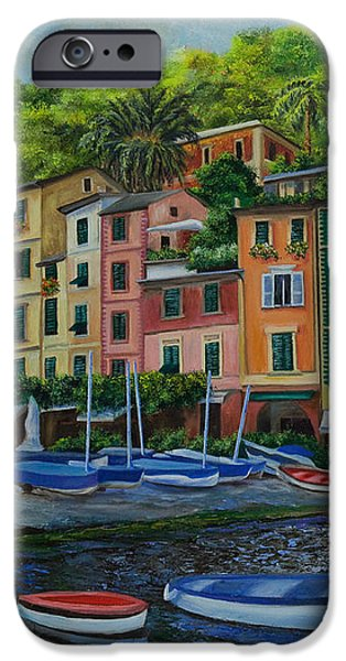 Portofino Harbor iPhone Case by Charlotte Blanchard