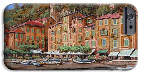 Marine iPhone Cases - Portofino-La Piazzetta e le barche iPhone Case by Guido Borelli