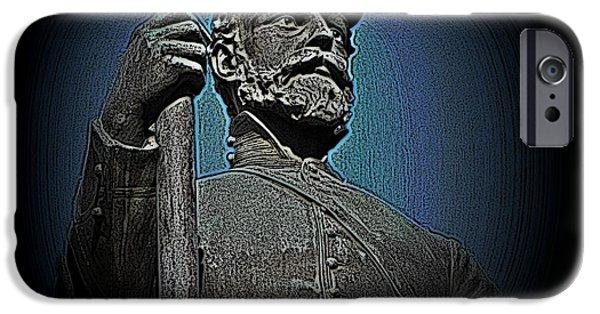 Statue Portrait iPhone Cases - Portrait 30 American Civil War iPhone Case by David Dehner