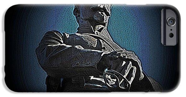 Statue Portrait iPhone Cases - Portrait 36 American Civil War iPhone Case by David Dehner