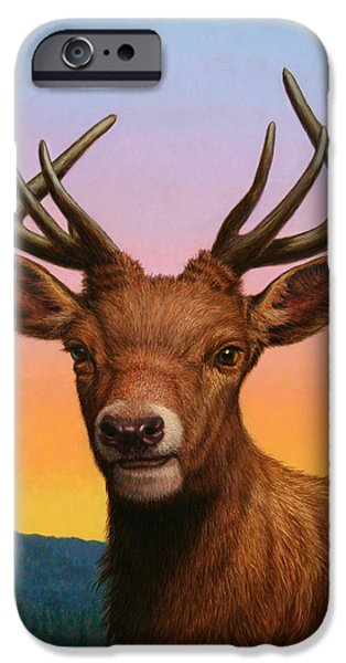 Animals iPhone Cases - Portrait of a Red Deer iPhone Case by James W Johnson