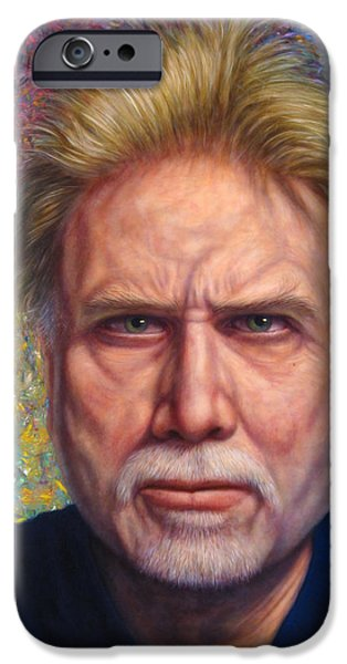 Self iPhone Cases - Portrait of a Serious Artist iPhone Case by James W Johnson