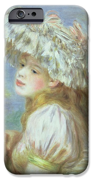 Woman In A Dress iPhone Cases - Portrait of a Young Woman in a Lace Hat iPhone Case by Pierre Auguste  Renoir