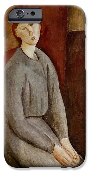 Clemente iPhone Cases - Portrait of Annie Bjarne iPhone Case by Amedeo Modigliani