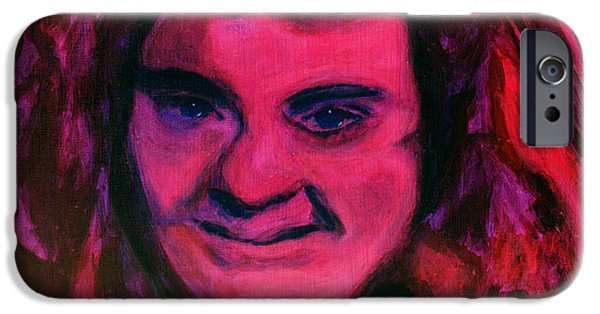 Discrimination Paintings iPhone Cases - Portrait of Jenny Friedman who never gave up. figure portrait in pink purple and blue Downs Syndrome iPhone Case by MendyZ M Zimmerman