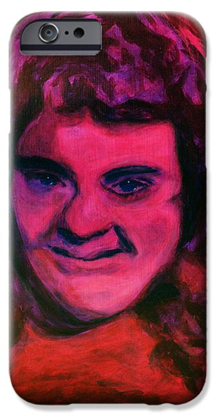 Portrait of Jenny Friedman who never gave up. figure portrait in pink purple and blue Downs Syndrome iPhone Case by MendyZ M Zimmerman