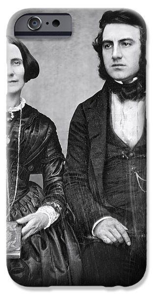 Wedding Bells iPhone Cases - PORTRAIT of MARRIED COUPLE c. 1845 iPhone Case by Daniel Hagerman