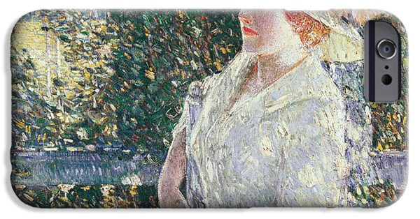 Childe iPhone Cases - Portrait of Miss Weir iPhone Case by Childe Hassam