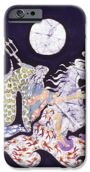 Evening Tapestries - Textiles iPhone Cases - Poseidon Rides the Sea on a Moonlight Night iPhone Case by Carol  Law Conklin