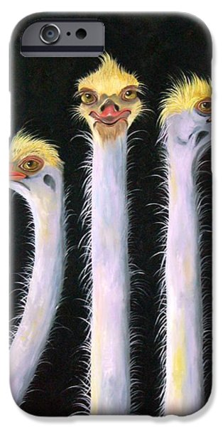Emu iPhone Cases - Posers iPhone Case by Leah Saulnier The Painting Maniac