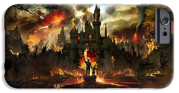 Concept Digital Art iPhone Cases - Post Apocalyptic Disneyland iPhone Case by Alex Ruiz