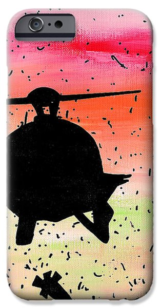 Post Apocalyptic Helicopter Skyline iPhone Case by Jera Sky