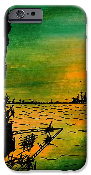 Ocean Sunset Drawings iPhone Cases - Post Apocalyptic New York Skyline iPhone Case by Jera Sky
