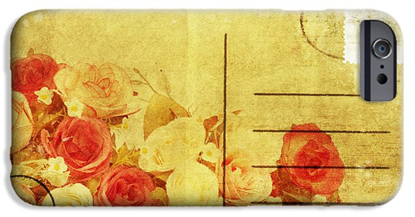 Rag iPhone Cases - Postcard With Floral Pattern iPhone Case by Setsiri Silapasuwanchai