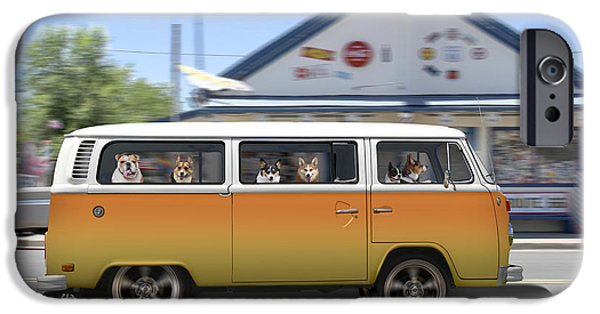 Dogs iPhone Cases - Postcards from Otis - Road Trip  iPhone Case by Mike McGlothlen