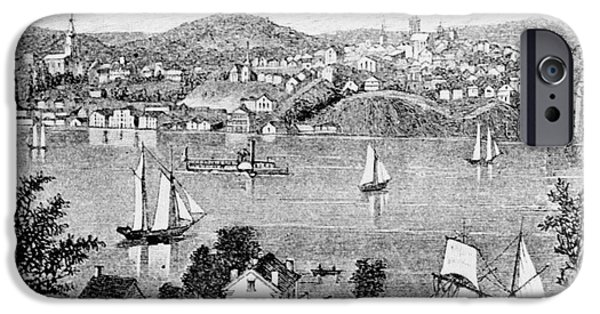 Hudson River iPhone Cases - POUGHKEEPSIE, c1840 iPhone Case by Granger