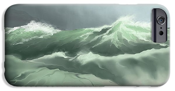 Concept Digital iPhone Cases - Pounding Surf Comes Into Shore iPhone Case by Corey Ford