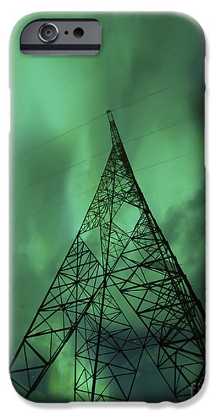 Electrical Component Photographs iPhone Cases - Powerlines And Aurora Borealis iPhone Case by Arild Heitmann