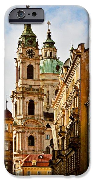St Nicholas iPhone Cases - Prague - St. Nicholas Church Lesser Town iPhone Case by Christine Till