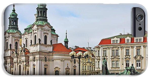 St Nicholas iPhone Cases - Prague - St Nicholas Church Old Town Square iPhone Case by Christine Till